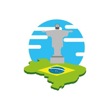 map of brazil with corcovado christ vector illustration design Çizim