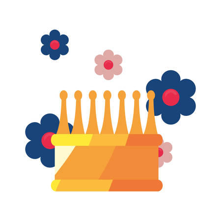 crown luxury flowers on white background vector illustration Stock Illustratie