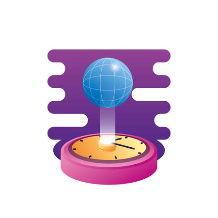 sphere planet browser with time clock vector illustration design