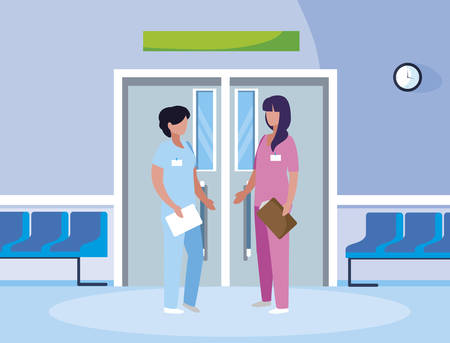 female medicine workers in elevator door vector illustration design Reklamní fotografie - 131125944