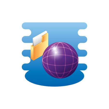 sphere planet browser with folder vector illustration design