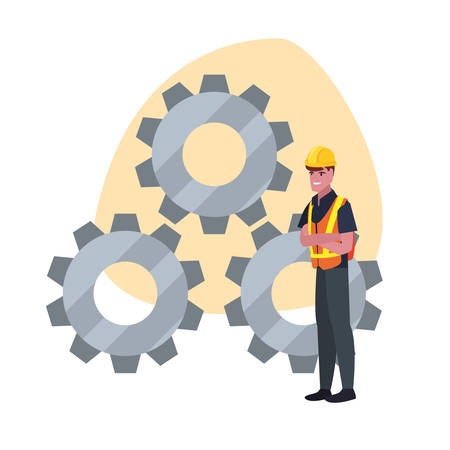 construction worker gears vector illustration design image