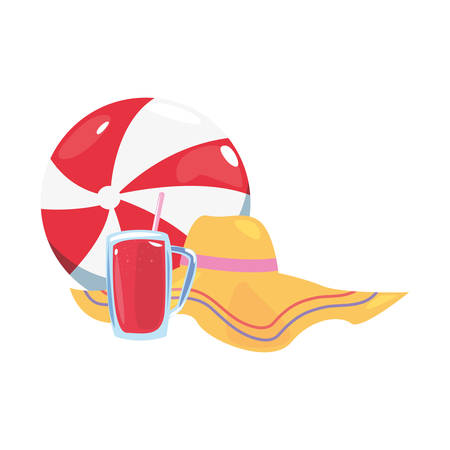 summer time holiday beachball hat and juice vector illustration
