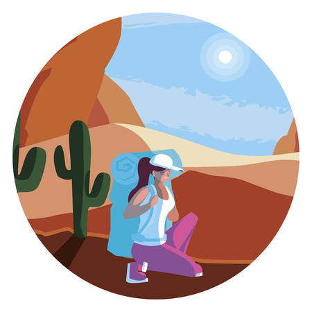 adventurous woman with travelbag in the desert vector illustration design