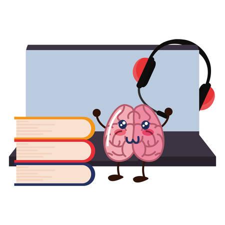 brain cartoon laptop education books headset vector illustration