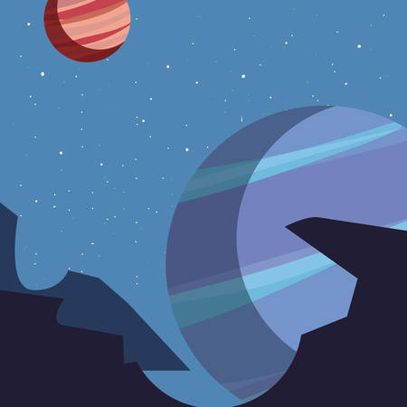 planet space galaxy astronomy vector illustration design