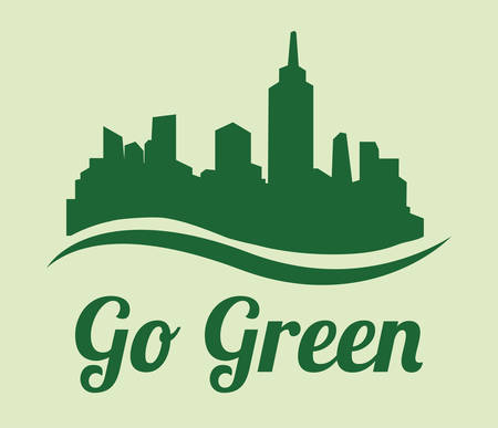 Go green digital design, vector illustration Çizim
