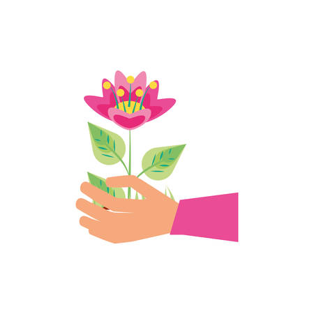 hand with natural flower icon vector illustration design Illustration