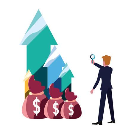businessman with magnifier money bags arrows bank vector illustration vector illustration 일러스트