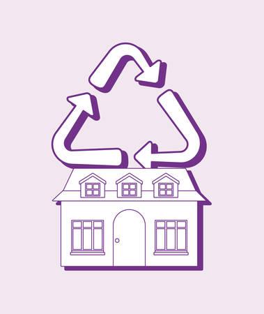 smart home design with house and recycle over purple background, colorful design. vector illustration Ilustração