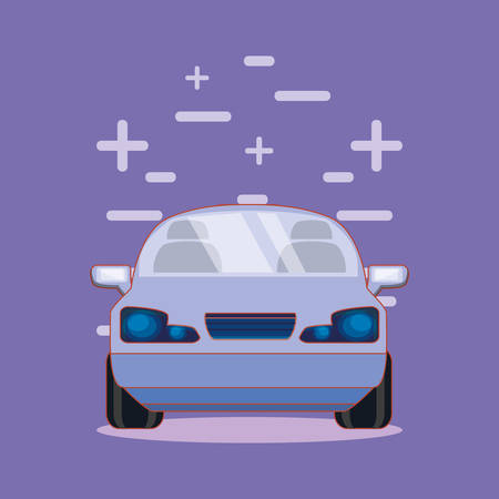 car vehicle transport purple background vector illustration