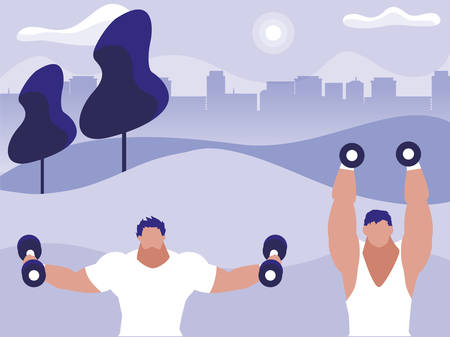 athletic men weight lifting in the park vector illustration design