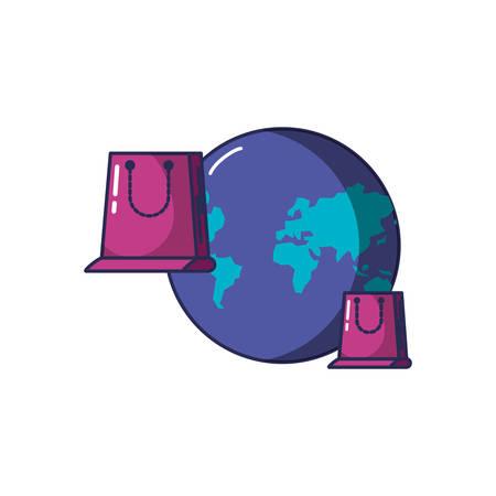 shopping bags with planet earth vector illustration design Illusztráció