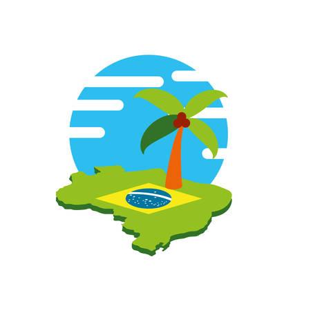 map of brazil with palm tree vector illustration design Çizim
