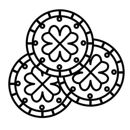 coins with clover saint patricks day vector illustration design Ilustrace