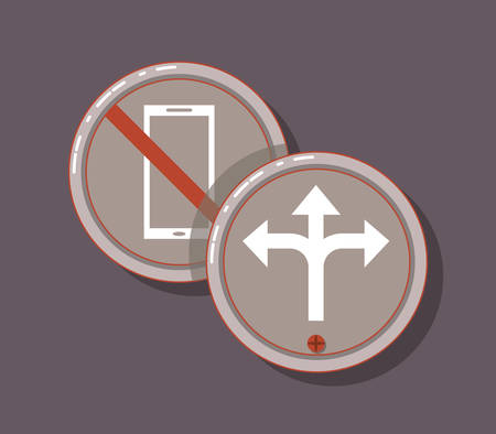 drive safely forbidden sign with cellphone traffic board arrow vector illustration