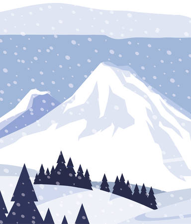 mountains with forest pines snowscape scene vector illustration design Illustration