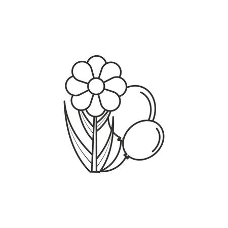 natural flower with balloons helium vector illustration design Illustration