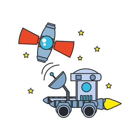 space explorer car with satellite and stars vector illustration design Ilustração