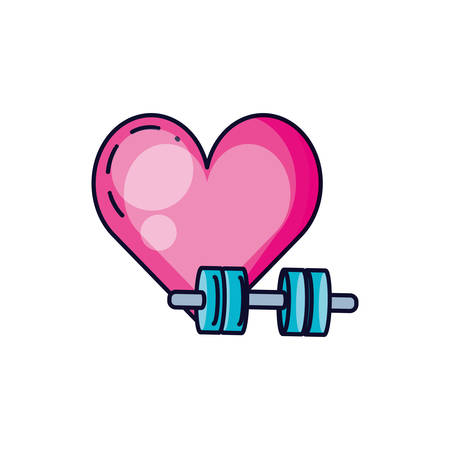 dumbbell sport with heart isolated icon vector illustration design