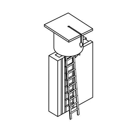 text book with graduation hat vector illustration design Illusztráció