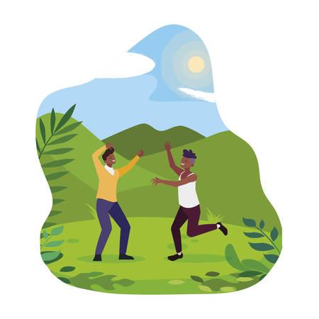 afro young men celebrating in the camp vector illustration design Çizim
