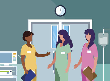 interracial female medicine workers in operatiing theater vector illustration design
