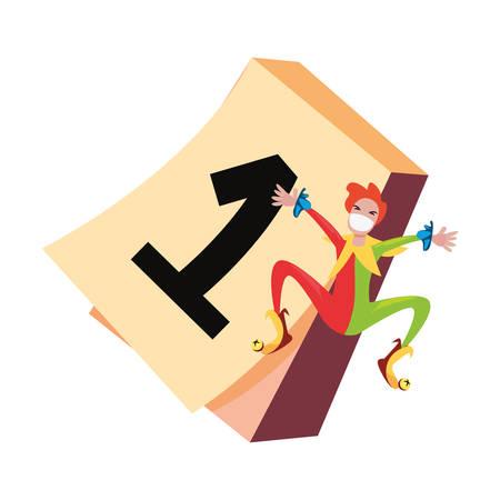 jester calendar april fools day vector illustration