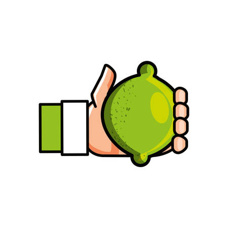 hand with fresh lemon fruit isolated icon vector illustration design Banque d'images - 131232752