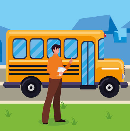 teacher male with documents in stop bus vector illustration design  イラスト・ベクター素材
