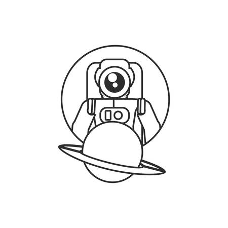 astronaut suit in frame circular with planet saturn vector illustration design