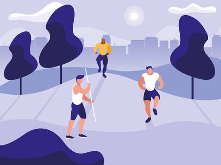 young men practicing outdoor gym vector illustration design