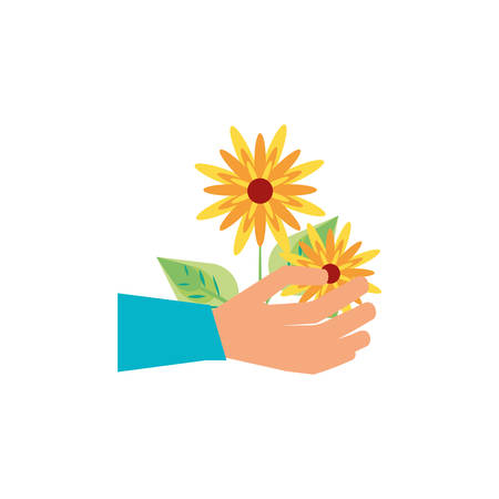 hand with natural flowers icon vector illustration design