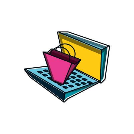 shopping bag with laptop computer vector illustration design Illustration