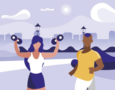 athletic afro man running and woman weight lifting in park vector illustration