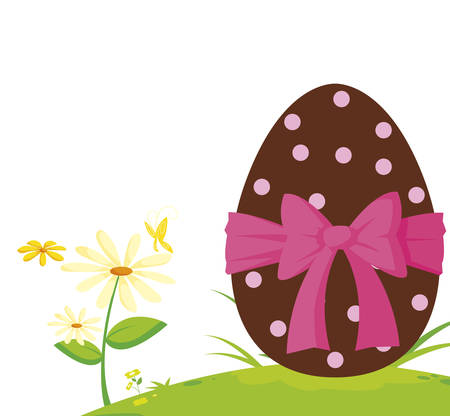 happy easter egg painted in the garden vector illustration design 일러스트
