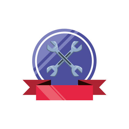 wrenches tools crossed with ribbon vector illustration design