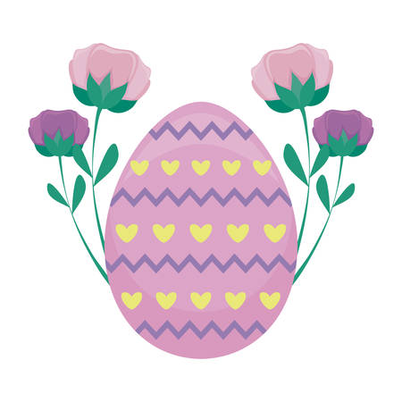 decorated egg of easter with flowers vector illustration design 일러스트
