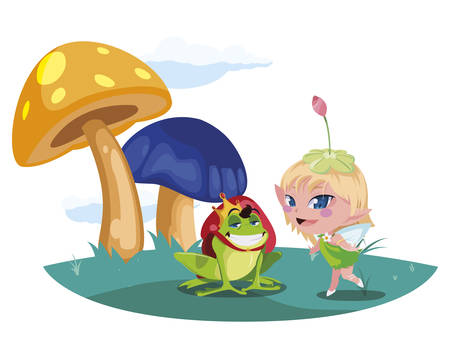 beautiful magic fairy with toad prince in the garden vector illustration design Ilustração