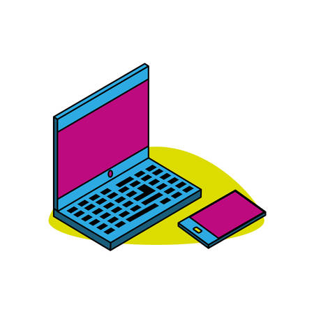 laptop computer with smartphone vector illustration design Illustration