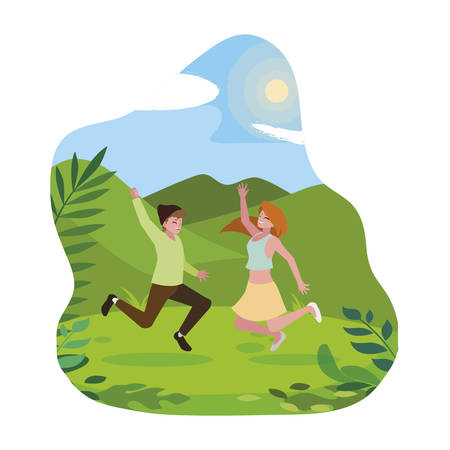 happy young couple celebrating in the camp vector illustration design Çizim