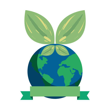 world natural leaves earth day vector illustration 일러스트
