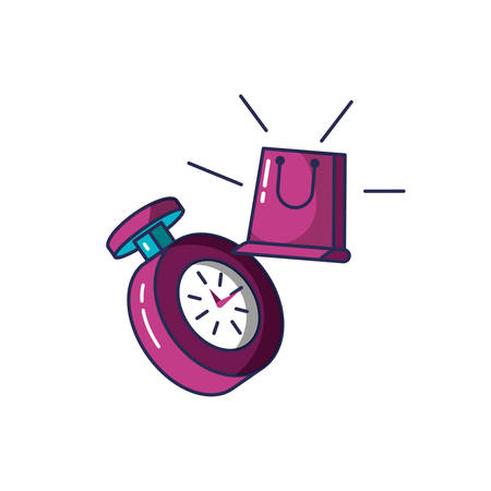 chronometer time with shopping bag vector illustration design