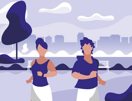 athletics couple running in the park vector illustration design
