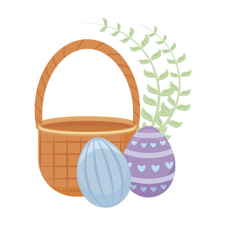 eggs of easter with basket wicker vector illustration design