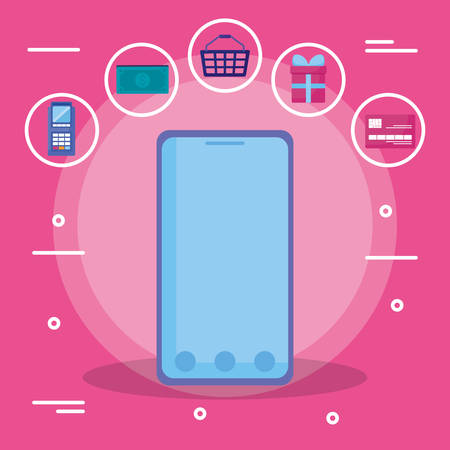 smartphone with commmercial icons vector illustration design
