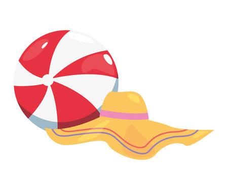 summer time holiday beachball and hat vector illustration