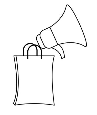 shopping bag with megaphone isolated icon vector illustration design Illustration