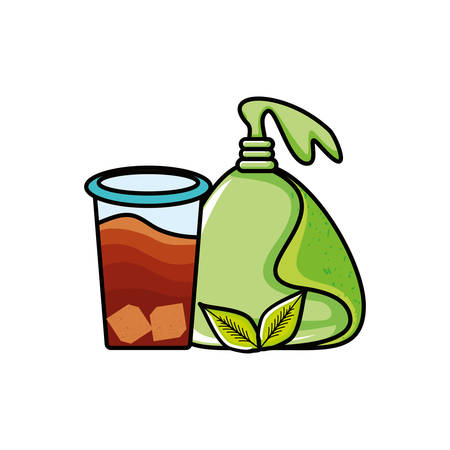 bag with ice tea isolated icon vector illustration design