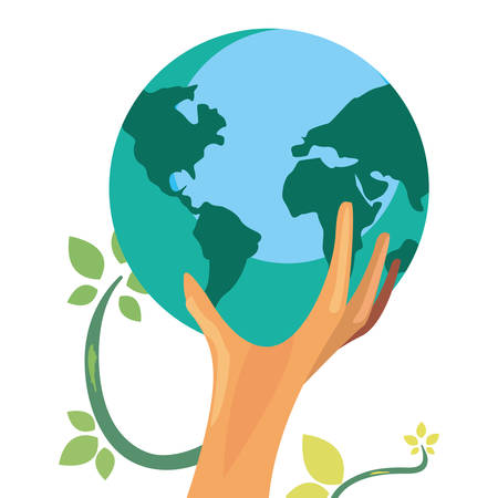 hand with trunk tree world shape happy earth day vector illustration Illustration